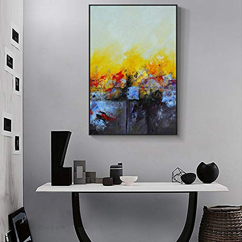 KWzEQ Pintura al óleo Amarilla y roja Moderna del Arte Abstracto en la Lona para la decoración de la Sala de Estar del Cartel,Pintura sin Marco,60x90cm