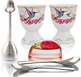 NobleEgg Premium Egg Cup Set for Soft Boiled Eggs | Egg Timer Pro, Exquisite Porcelain Egg Cups, 18/10 Egg Spoons, Egg Topper, Gift/Storage Box