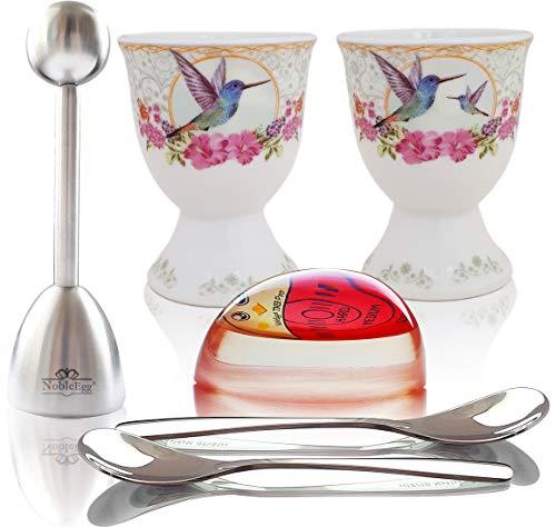 NobleEgg Egg Cups for Soft Boiled Eggs | 2 porcelain egg holders, 2 egg spoons, egg topper, egg...