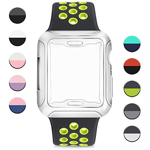 AK Cinturino per Apple Watch 38mm 40mm 42mm 44mm,Cinturini Sportiva in Silicone Morbido e Traspirante con Custodia Protettiva per Apple Watch Serie 5 4 3 2 1 (Nero/Verde, 38/40mm M/L)