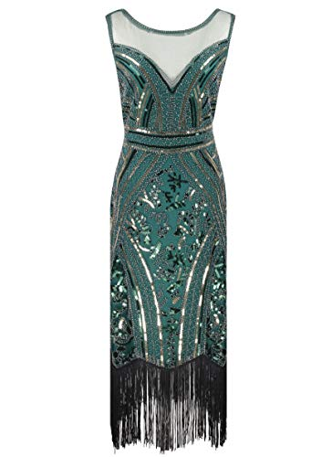 Women 1920s Great Gatsby Cocktail Sequin Art Deco Maxi Flapper Dress for Party (Green, X-Large)