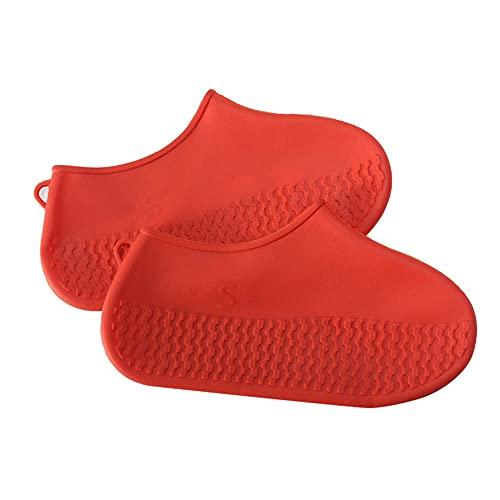 Wacemak1r Cubiertas de zapatos reutilizables de goma impermeables botas de lluvia antideslizantes viaje equipo de lluvia para mujeres hombres rojo, M
