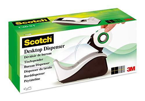 Scotch C60, Dispensador de cinta adhesiva, incluye 1 rollo de cinta Scotch