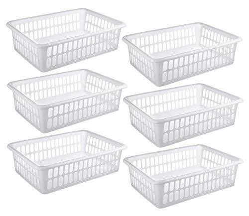 6 Pack - Plastic Storage Organizing Basket, Cabinet Shelf Kitchen Drawer Refrigerator, Freezer Organizer Bins, 15' x 10', White