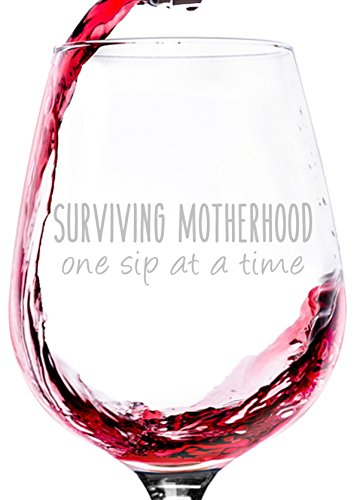 Surviving Motherhood Funny Wine Glass - Best Christmas Gifts for Women, Wife, New Mom - Unique Xmas Gag Gift Ideas from Husband, Kids - Fun Novelty Birthday Present for a Mother, Mommy, Friend, Sister