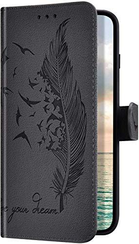 Uposao Kompatibel mit Samsung Galaxy A20e Hülle Handyhülle Feder Vogel Muster Klapphülle Flip Hülle Schutzhülle Superdünn Lederhülle Brieftasche Wallet Ledertasche Kartenfächer Magnet,Grau