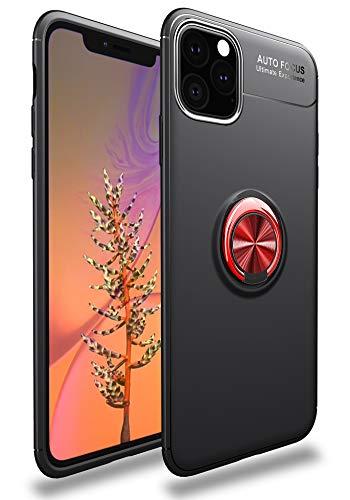 SORAKA Cover per iPhone 11 Pro Max(6,5 pollici)con anello rotante a 360 gradi,Custodia in Silicone Morbido Cover Anti-Impronta Ultrasottile con piastra metallica per Supporto Auto Smartphone Magnetico