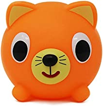 Jabber Ball Sankyo Toys Squeeze and Play Sound Ball - Neon Orange Cat