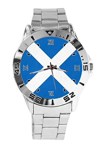 Armbanduhr mit schottischer Flagge, Quarz, silberfarbenes Zifferblatt, klassisches Edelstahlband, für Damen und Herren