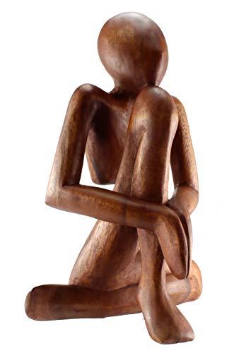 Budawi® - Holzskulptur Holzfigur meditierend Höhe ca. 30 cm, Yoga Figur Dekofigur