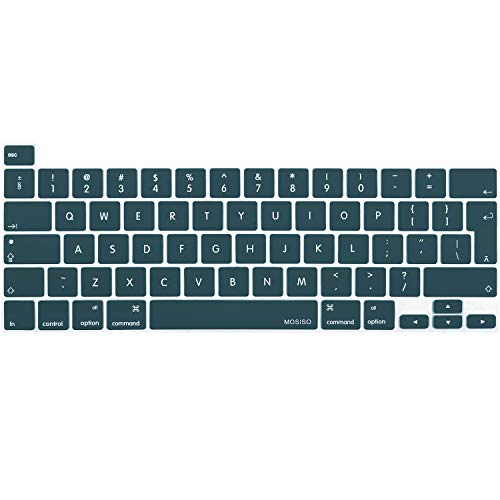 MOSISO Protection Clavier Compatible avec 2021 MacBook Pro 13 Pouces A2338 M1 A2251 A2289&2019 MacBook Pro 16 Pouces A2141 avec Touch ID&Retina Display, Silicone Protection Clavier, Sarcelle Profonde