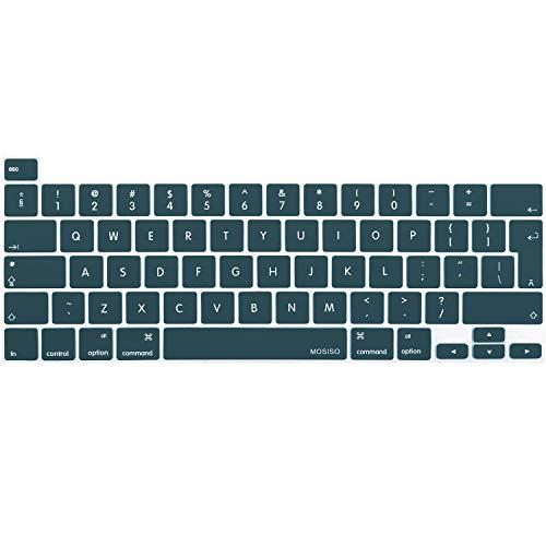 MOSISO Cubierta de Teclado Compatible con 2020 MacBook Pro 13 Pulgadas A2338 A2289 A2251/2019 MacBook Pro 16 Pulgadas A2141 con Touch ID & Pantalla Retina, Piel de Silicona Protectora,Trullo Profundo
