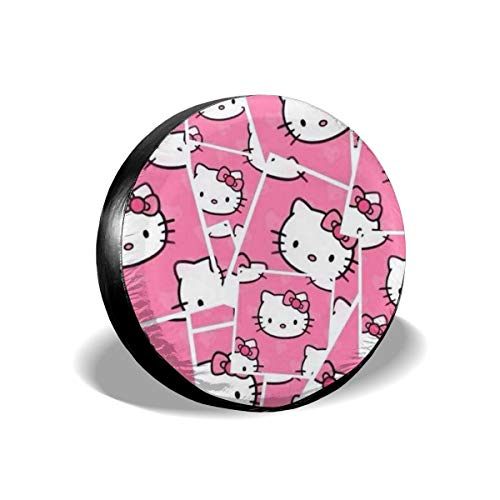 Heavenly Battle Pink Cute Hello Kitty Spare Tire Covers Universal Tire Cover Dust-Proof Waterproof Wheel Covers for Jeep, Trailer, RV, SUV, Truck and Many Vehicle Wheel Diameter-17 inch