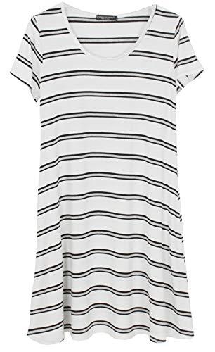 Emma & Giovanni - Tshirt Kleid Knielang Sommerkleid Tunika (Made In Italy) - Damen (Weiß, 36)