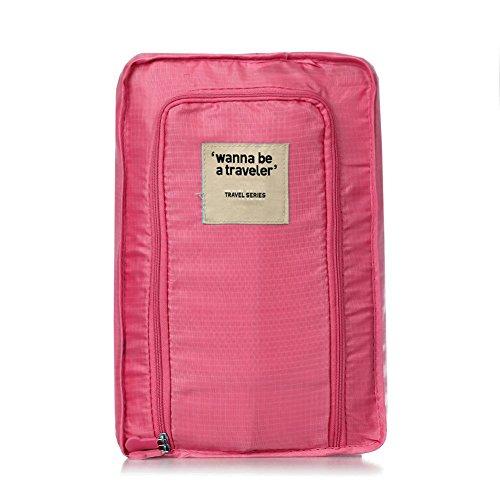 SODIAL(R) Borsa Organizzatore Zip Porta Scarpe in Nylon Magenta Impermeabile da Viaggio