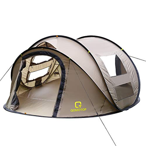 OT QOMOTOP 4 Person Pop up Tent, 9.5'X7'X50'', 10 Second Setup Tent, Waterproof Tent, 2 Big Doors and 2 Roof Vents, 4 Ventilated Mesh Windows, Instant Tent for Family(Brown)