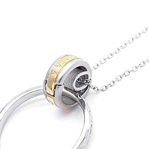 [アライブ]メンズ 指輪ホルダーネックレス サージカルステンレス製 ローマ数字 金属アレルギー 安心 対応 ペンダント レディースゴールド50cm