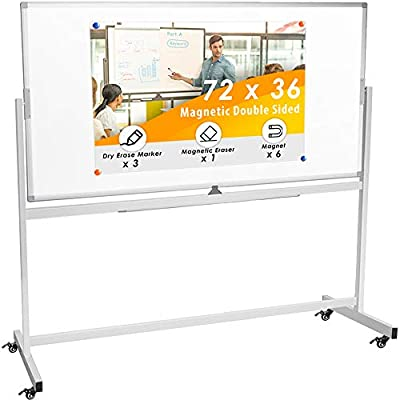 Double Sided Rolling Whiteboard, Mobile Whiteboard Magnetic White Board - 72 x 36 inches Large Reversible Dry Erase Board Easel Standing Board on Wheels with Silver Aluminum Frame and Stand