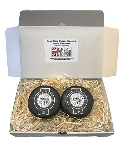 Snowdonia Käse-Geschenkkorb von Great British Trading Limited, enthält 2 schwarze Bomber-Truckles, 200 g
