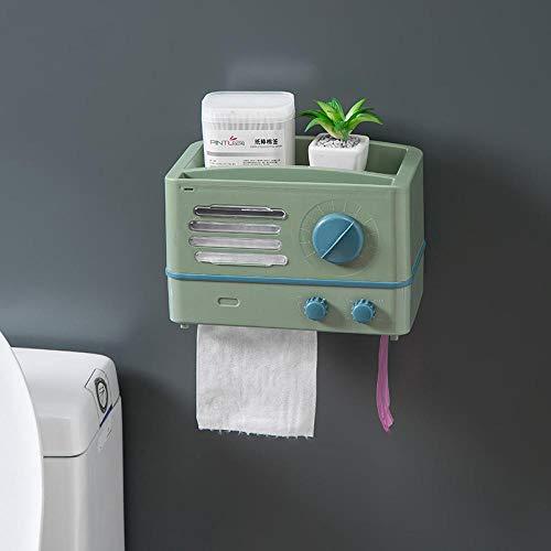 Tonsooze Toilettenpapierhalter Badezimmer Retro Radio Nagel Frei Wasserdichte Küche Badezimmer Rolle Papierbox-Grün