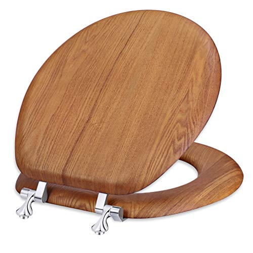 Wood Toilet Seat Round Veneer Natural with Strong Chrome Hinges, Easy Clean, Quick-Assembled for Standard Toilets Brown