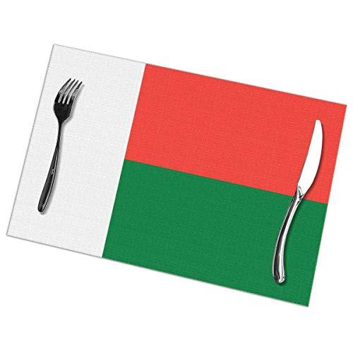 Tischsets Abwaschbar, Platzset 6er Set Platzdeckchen Abwaschbar Abgrifffeste, Hitzewiderstandsfähig, Tischset Tisch for Küche, Zuhause, Restaurant, Speisetisch, Flagge von Madagaskar. (12×18inch)