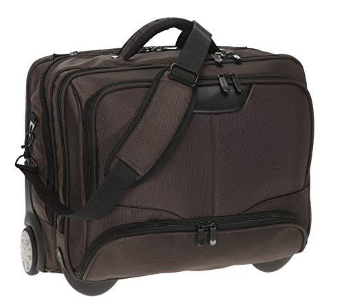 Dermata Maleta para portátil, con ruedas, con bolsillo acolchado extraíble, para portátil de 17pulgadas [41cm x 29cm], marrón (Marrón) - 3456NY Spec.BR
