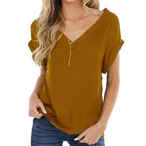 T-Shirt Damen Kurzarm Oberteile Sommer Übergröße Freizeit Mode Elegant Oberflächenfarbe Kurzarm T-Stück Tops Casual gemüttslich verlieren V - Basic Shirt Tshirts Hemd Bluse Tunika (Gold B, XL)