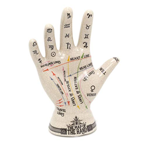 Carousel Home Gifts Ceramic Palmistry Hand Ornament | Map Of The Hand Sculpture | Hand Figurine Palm Reading Statue