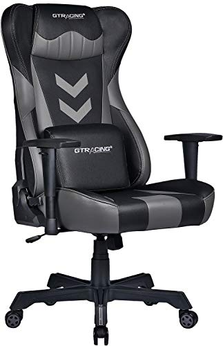 Gtracing Gaming Chair Big and Tall Office Chair Wide Seat Ergonomic Racing Desk Chair High Back Swivel Adjustable Massage Computer Chair with Lumbar Support Armrest Headrest Game Chair,Gray