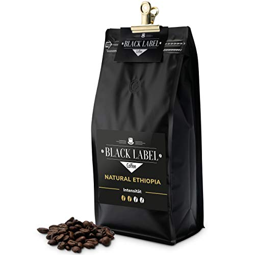Black Label Coffee Premium Kaffeebohnen 1kg Natural Ethiopia 100% Arabica | ganze Espresso Bohne | frisch geröstet für das perfekte Kaffee Crema Getränk | Ideal für Filter Kaffee & Aero Press