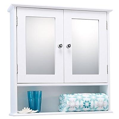 Double Door White Bathroom Mirror Cabinet