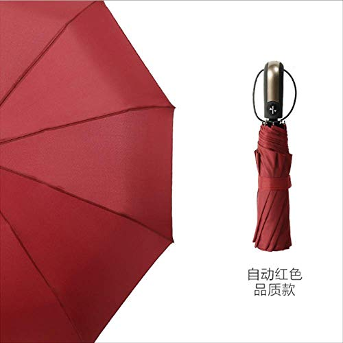 Kreative 10 Knochen Vollautomatische Regenschirm, Werbegeschenke Klar Regenschirm, Erhöhen Verstärkung Regen Dual-use Business Regenschirm 10 Knochenrot