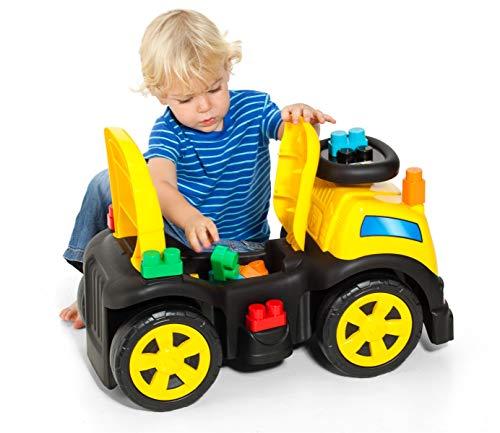 M MOLTO Baby Spielzeugauto 3 in 1 Lauflernhilfe Lauflernwagen Kinderfahrzeuge + Blockspiel (Gelb - 50 Blocks)