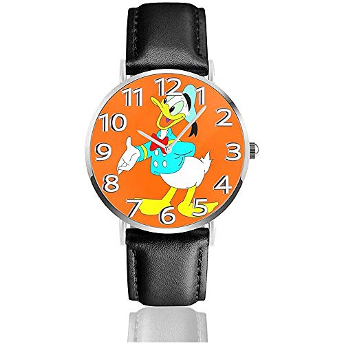 Gentleman 'S Donald Duck Fun Reloj de Pulsera analógico de Cuarzo, Reloj de Cuero Lindo de Dibujos Animados Unisex