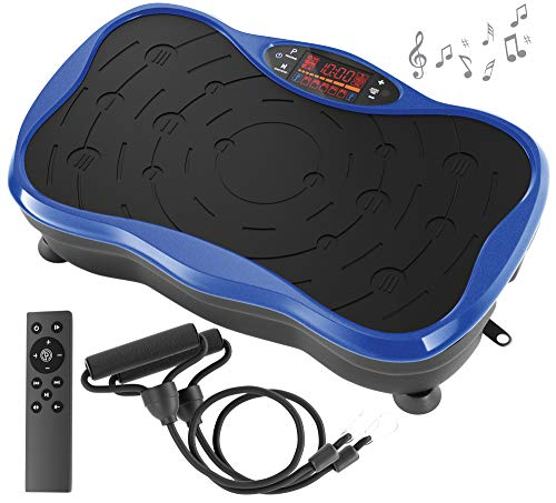 Belmint Vibration Plate Exercise Machine - Mini Fitness Board with 2 Resistance Bands - Home Training Equipment Platform for Lose Fat, Weight Loss, Improve Flexibility, Circulation, Tone & Strengthen
