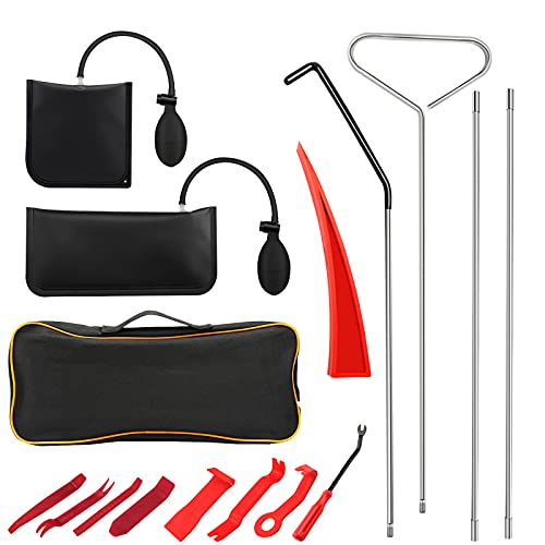 BETOOLL Auto Lockout Kit, 16pcs Emergency Car Door Lockout Kit with Easy Entry Long Reach Grabber, Air Wedge, Non Marring Wedge and Carrying Case Bag for Cars
