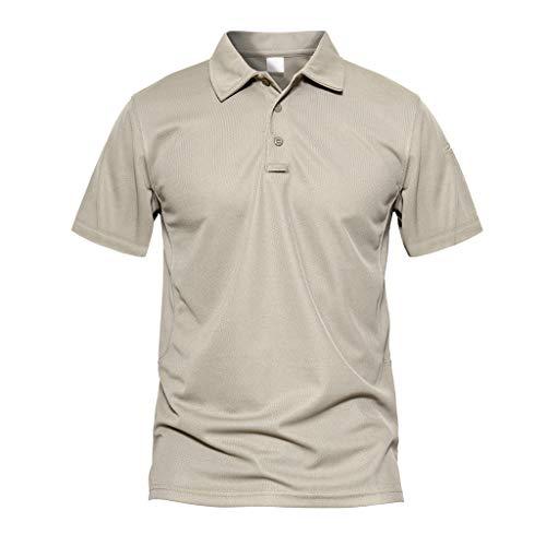MAGCOMSEN Kurzarm Polo Shirt Herren US Army Tshirts Taktische Herrenshirt Outdoor Arbeitsshirt Golf Polo-Shirt Jagdhemd Funktionsshirt mit Umlegekragen Khaki L