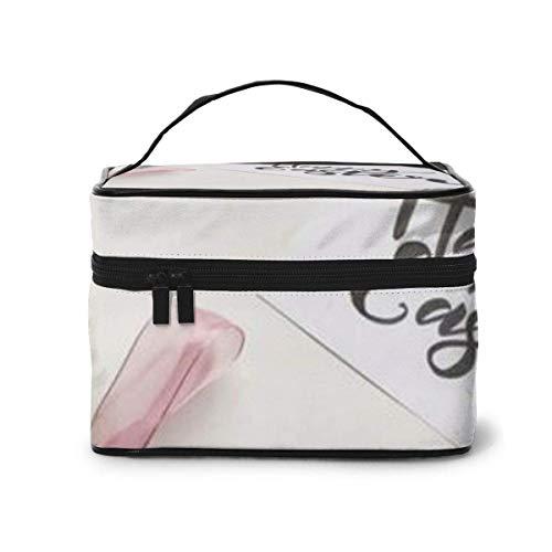 Fleurs Blanches Happy Travel Makeup Train Case Makeup Cosmetic Case Organizer Portable Artist Storage Bag