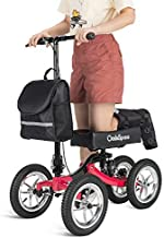 OasisSpace Shock Absorber All Terrain Knee Walker Scooter-with 12 Inches Durable Air Filled Wheels, Steerable Knee Walker Heavy Duty Crutches Alternative for Foot Injuries Ankles Surgery (Red)