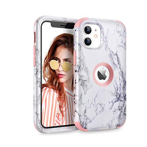 WE LOVE CASE Hülle für iPhone 12 Mini 5,4 Zoll, Stylische Marmor Muster Schutzhülle 3 in 1 Hybrid Handyhülle Weiche Silikon Hart PVC Stoßfest Tasche Hülle Cover für iPhone 12 Mini - Roségold
