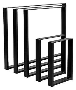POKAR Pata de Mesa de Acero, Marcos Cuadrados Estilo Industrial DIY para Café, Mesas de la Sala de Star, Patas Metálicas de la Encimera para Muebles, 60x72 cm, Conjunto de 2, Negro