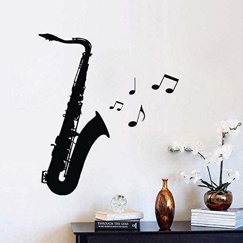 Pegatinas de pared para saxofón Decoración de la sala de música DIY vinilo calcomanías de pared instrumento musical cuarto interior decoración de la pared