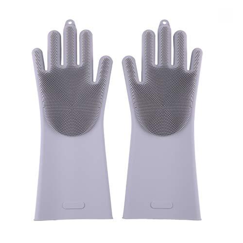 Küche Waschen Silikon Handschuhe mit Wash Scrubber Bürste Geschirrspülen Cleaning Grau