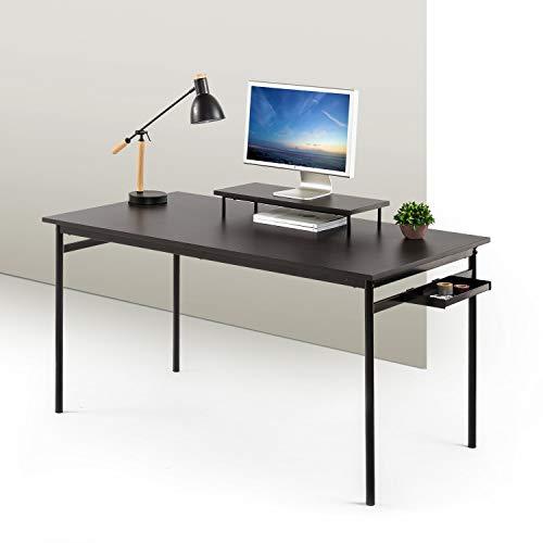 ZINUS Tresa 140 x 75 cm Scrivania in metallo nera con spazio di stivaggio e supporto per monitor | Postazione di lavoro con finitura Espresso | Scrivania per computer | Facile da assemblare