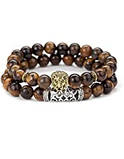 2 Pices Matte Agate Natural Onyx Stone Dragon Veins Agate Mens Womens Bracelets, Alloy Lion Head-Brown