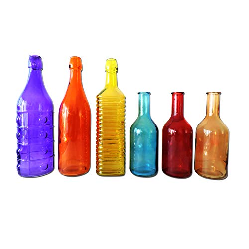 Colored Glass Bottles, 6 Pieces Colorful Decorative Vintage Bottle for Outdoor Garden Bottle Tree or Indoor Home Decor (Rainbow Color Set)