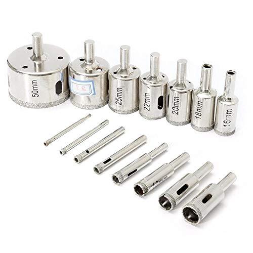Drill 15Pcs 3-50mm Drill Bit Hole Saw Cutter Tool Glass Marble Ceramic