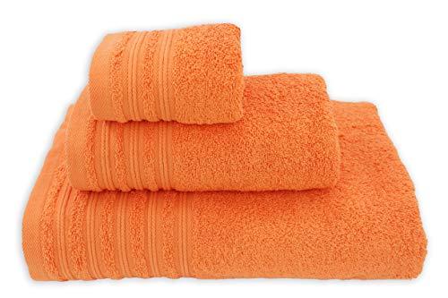 Juego 3 Toallas de Baño 100% Algodón. Toallas Rizo con Cenefa 500 gr/m². Pack 3 Toallas, Sábana Ducha, Lavabo y Tocador. (Naranja, Líneas)