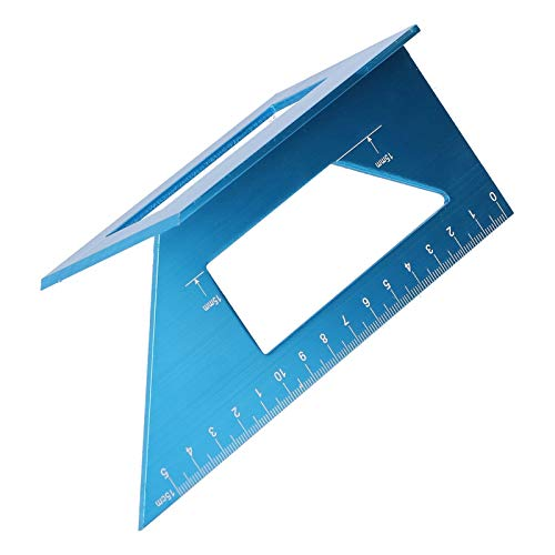 Calibre de inglete, 0-150 mm 45 ° / 90 ° T Ángulo de aleación de Aluminio Regla Recta 3D para carpintería para Manualidades para Ingenieros(Blue)